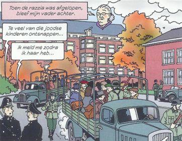 """Uit de strip """"De ontdekking"""" uitgegeven door de Anne Frank Stichting en het Verzetsmuseum Friesland"""